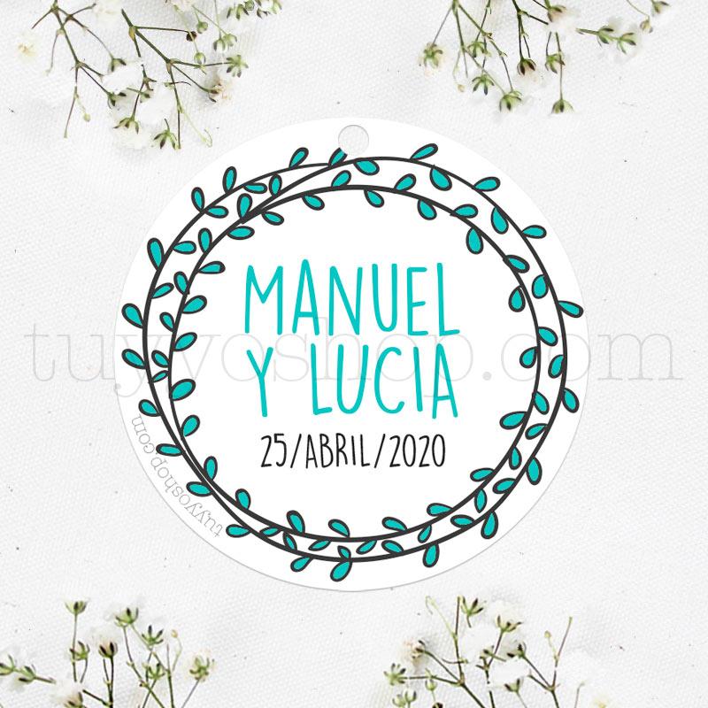 Etiqueta para boda modelo olivitos que puedes personalizar con nombre y fecha.