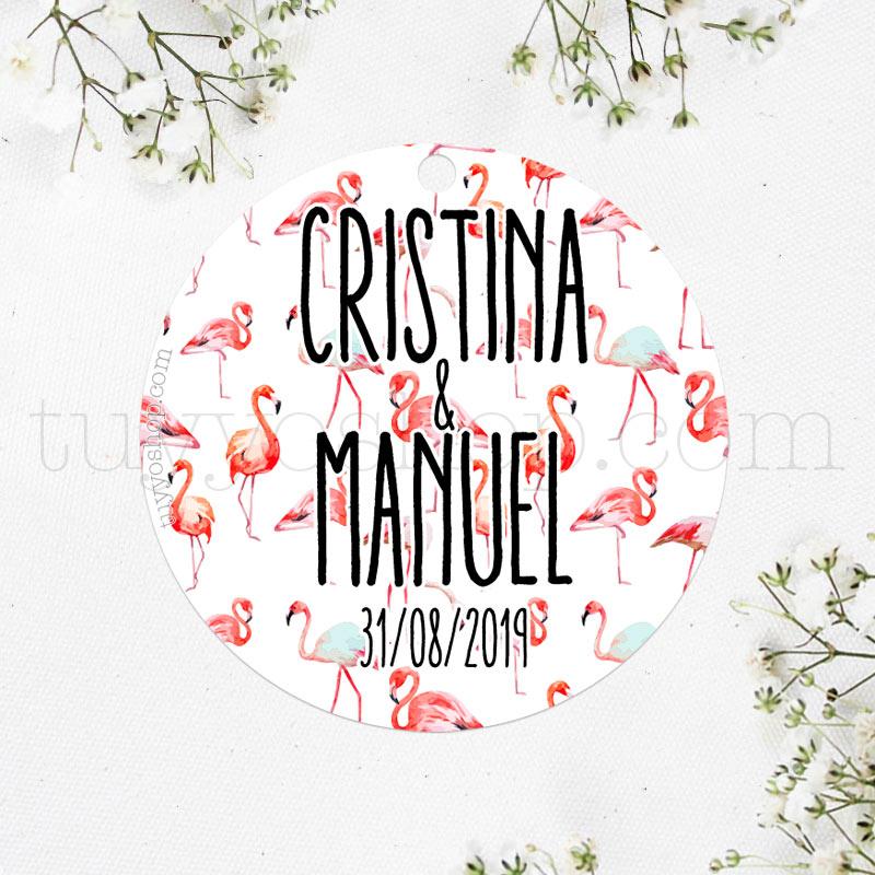 Etiqueta para boda con un bonito diseño de flamencos. Las puedes personalizar con tu nombre y fecha.