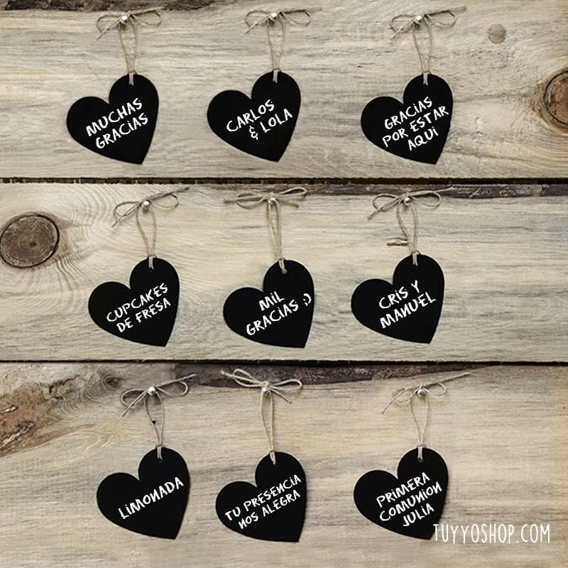 Set 10 etiquetas de corazón tipo pizarra