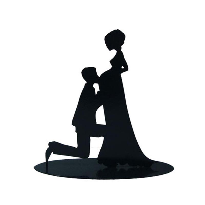 figura metálica para pastel de boda, modelo embarazada