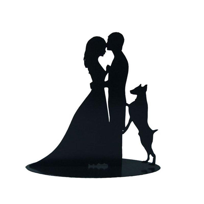 figura metálica pastel de boda, modelo mascota