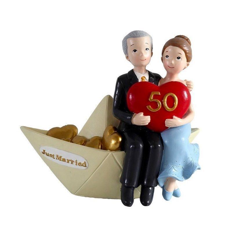 figura para pastel de boda, 50 aniversario en barco