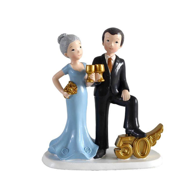 figura para pastel de boda 50 aniversario, brindemos!