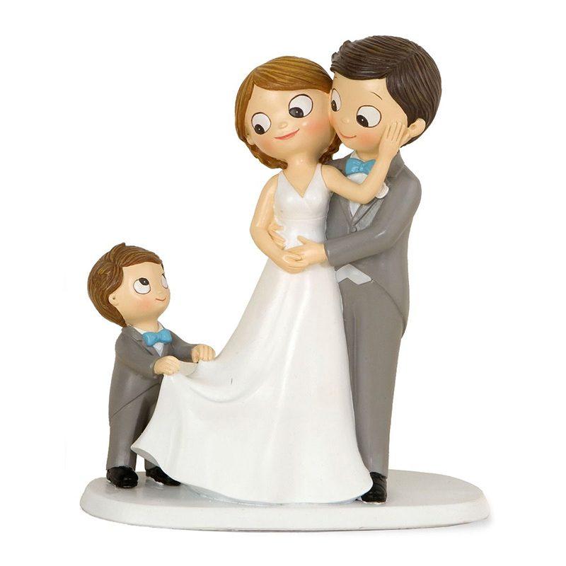 Figura para pastel de boda Novios con niño