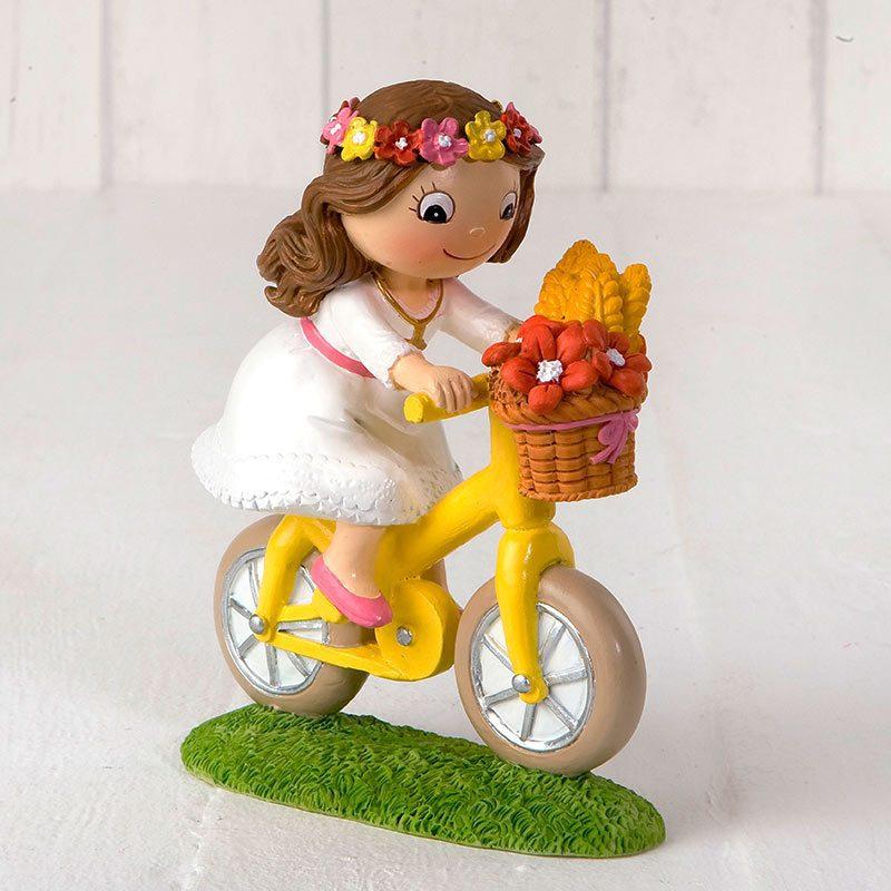 Figura para pastel de comunión, modelo niña en bici