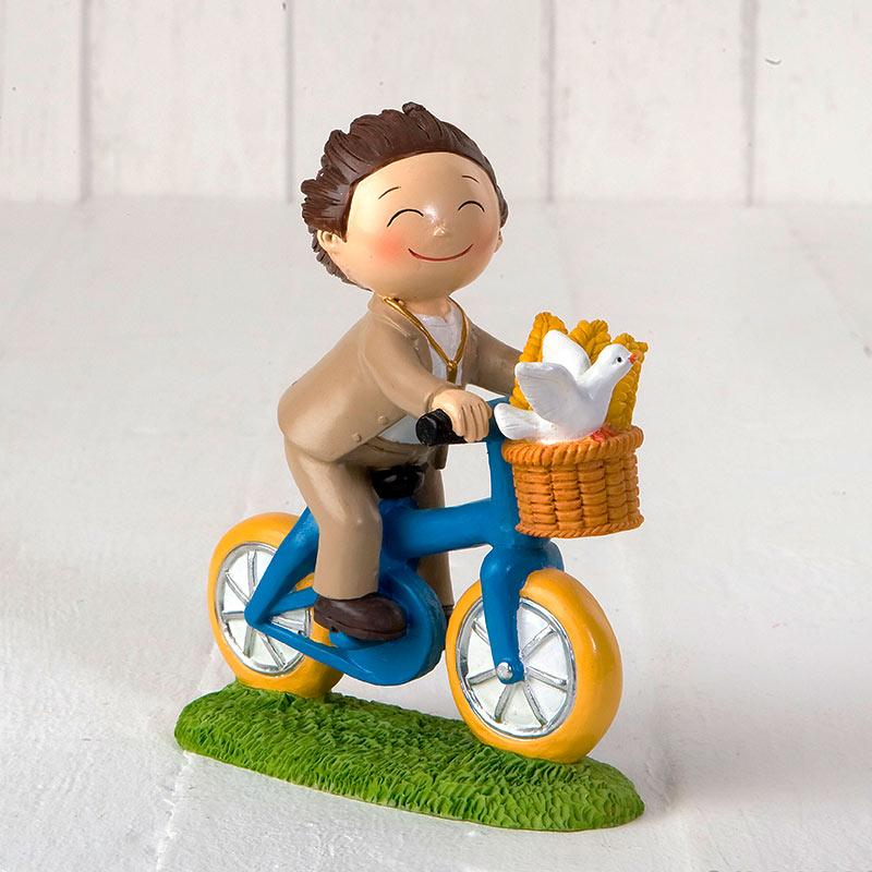 Figura para pastel de comunión, modelo niño en bici. Toppers.