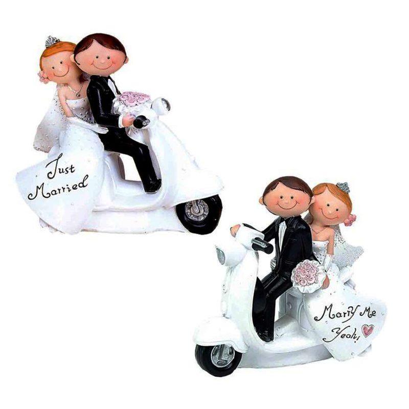 Figura para tarta de boda. Novios en moto. figura para tarta de boda novios en moto