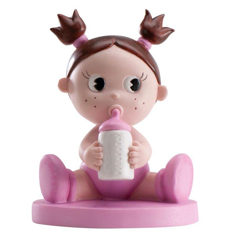 Figura de pastel para bautizo, bebe con biberón. Rosa