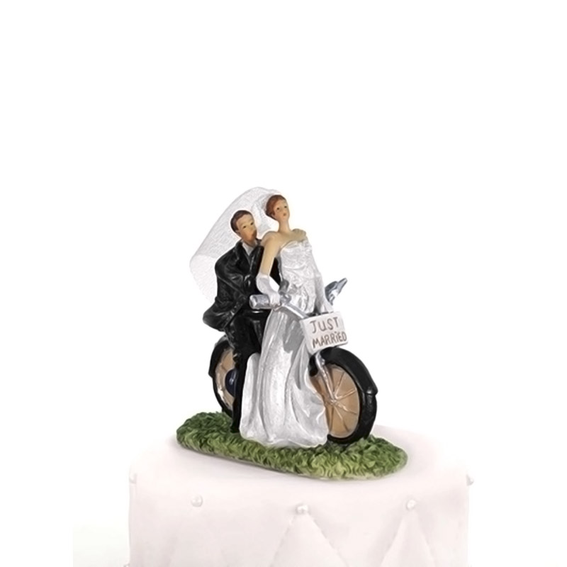 Figura para tarta de boda. Novios en moto. Just Married