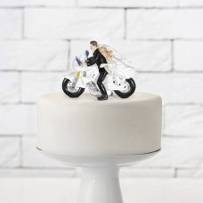 Figura para tarta de boda. Novios en moto.