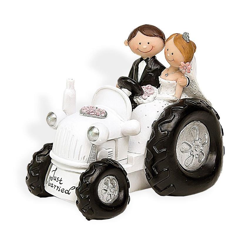Figura para tarta de boda Tractor en color blanco.