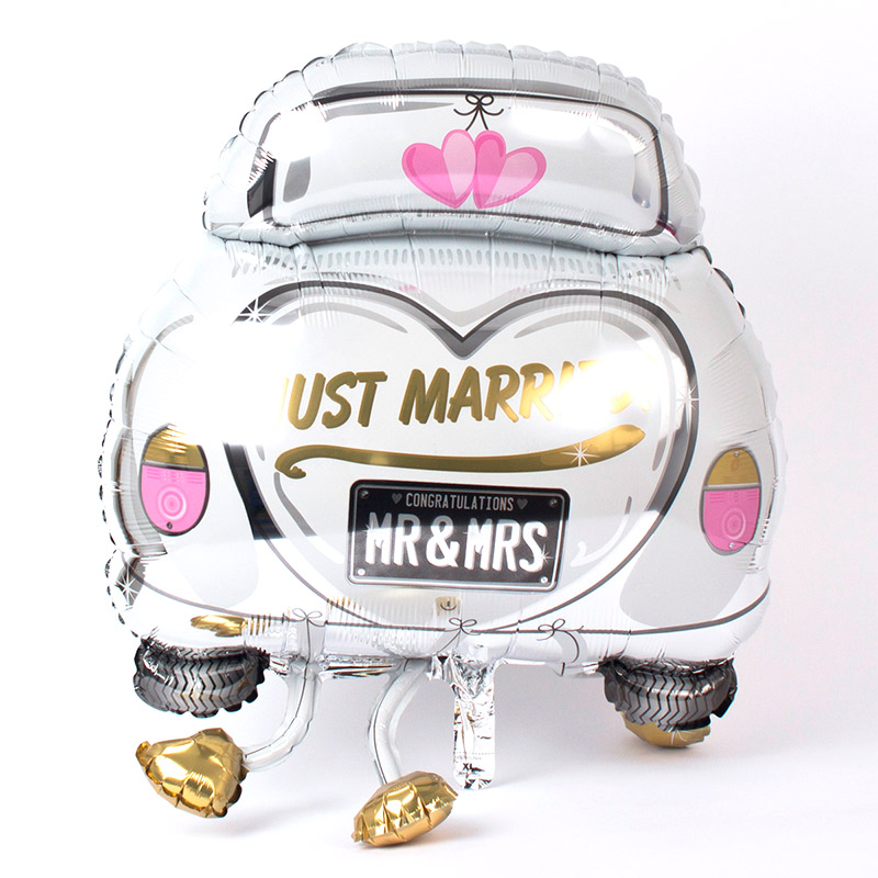 Globo metalizado, just married. Coche novios.