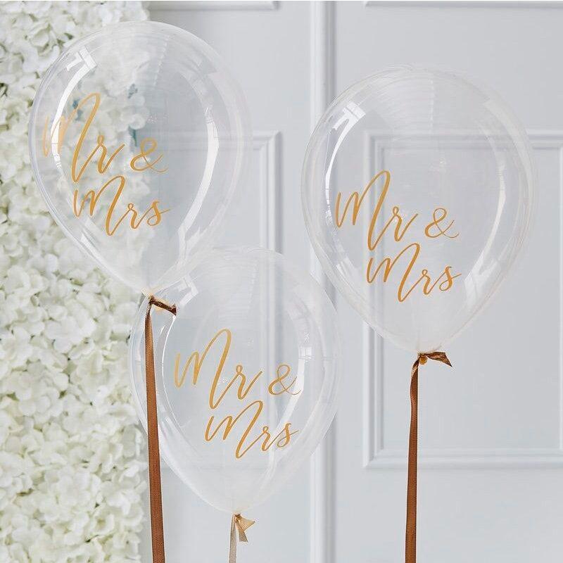 Pack de 5 globos con confeti interior. Mr&Mrs. globo para bodas mr mrs
