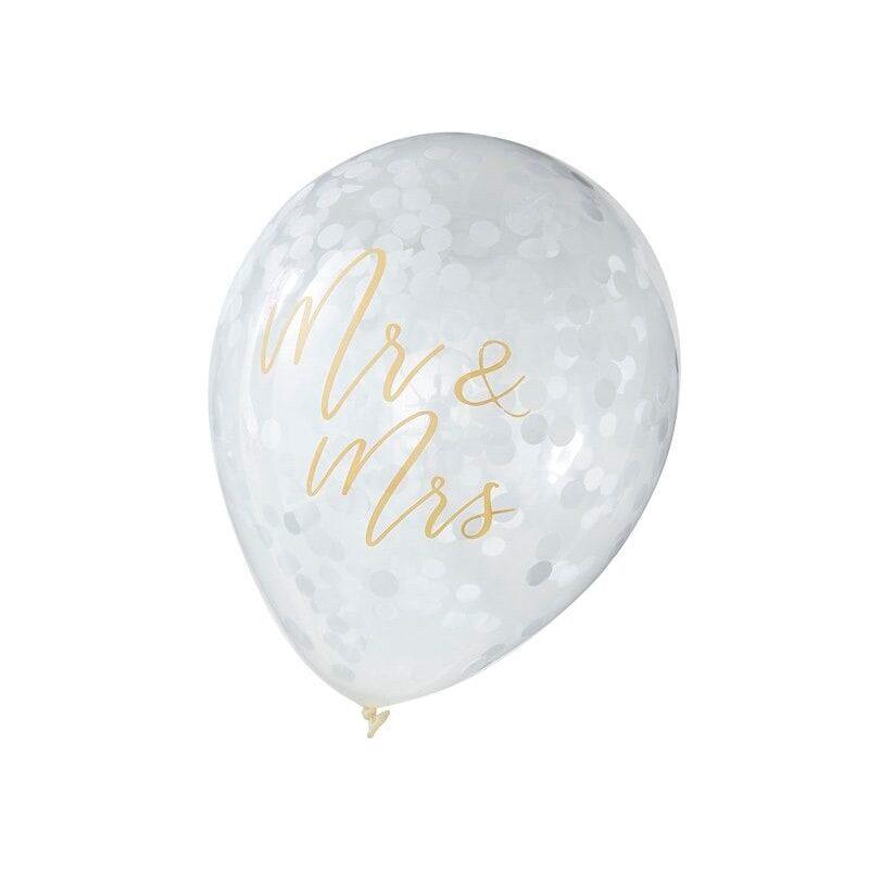 Pack de 5 globos con confeti interior. Mr&Mrs. globo para bodas mr mrs2