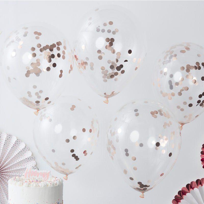Pack de 5 globos con confeti rosa dorado en su interior. globos para boda color dorado y rosa