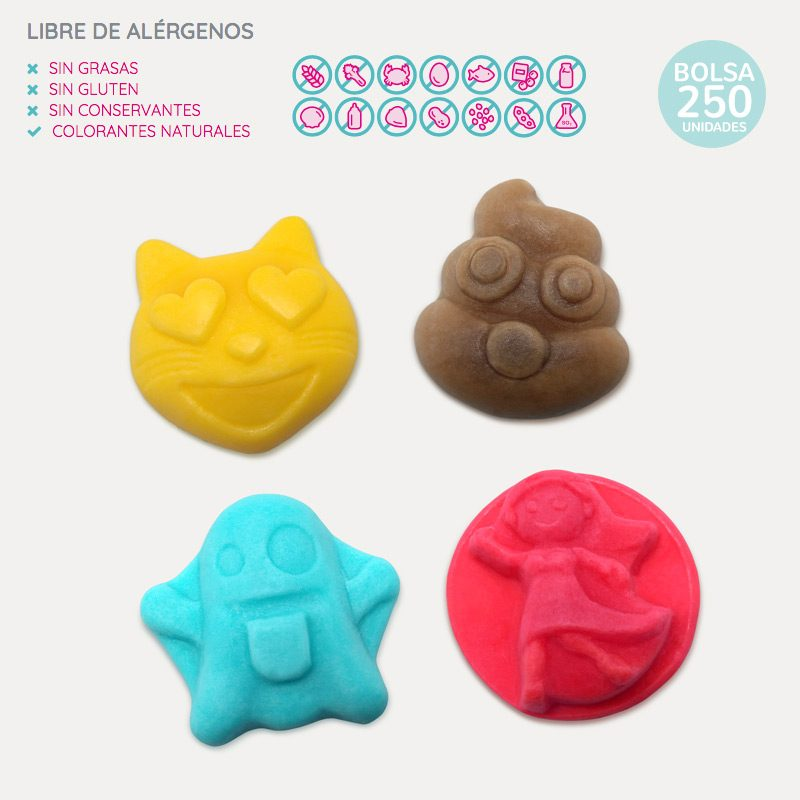 Gominolas Emoji para candy bar y mesas dulces. 250 unidades. gominolas eventos emoji 250