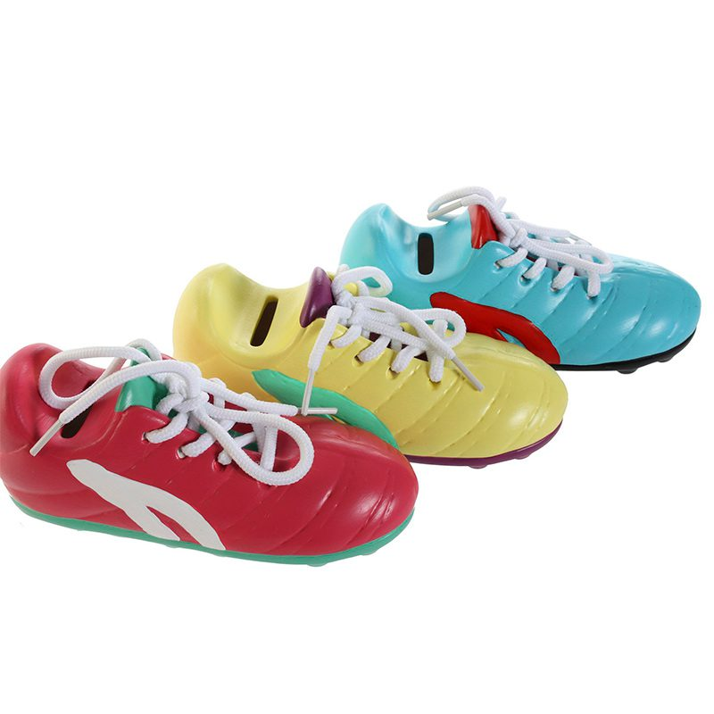Hucha bota de fútbol. 3 colores. Cordones reales de tela.
