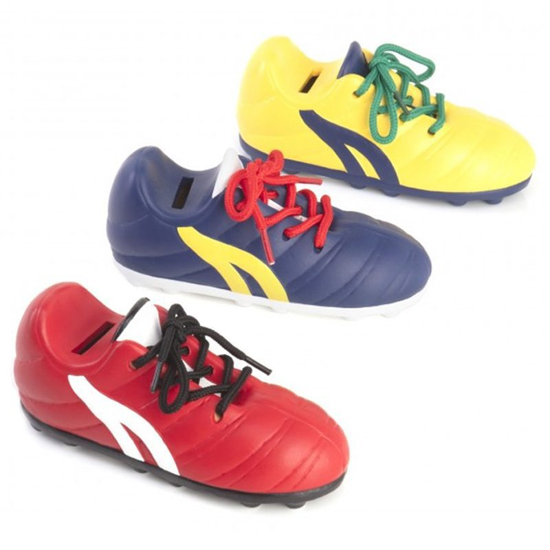 Hucha para niños modelo soccer. 3 nuevos colores. Cordones reales.
