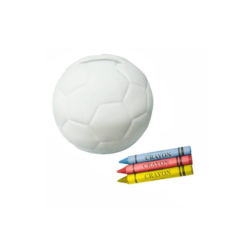 Hucha para colorear en forma de pelota. Incluye 3 ceras.