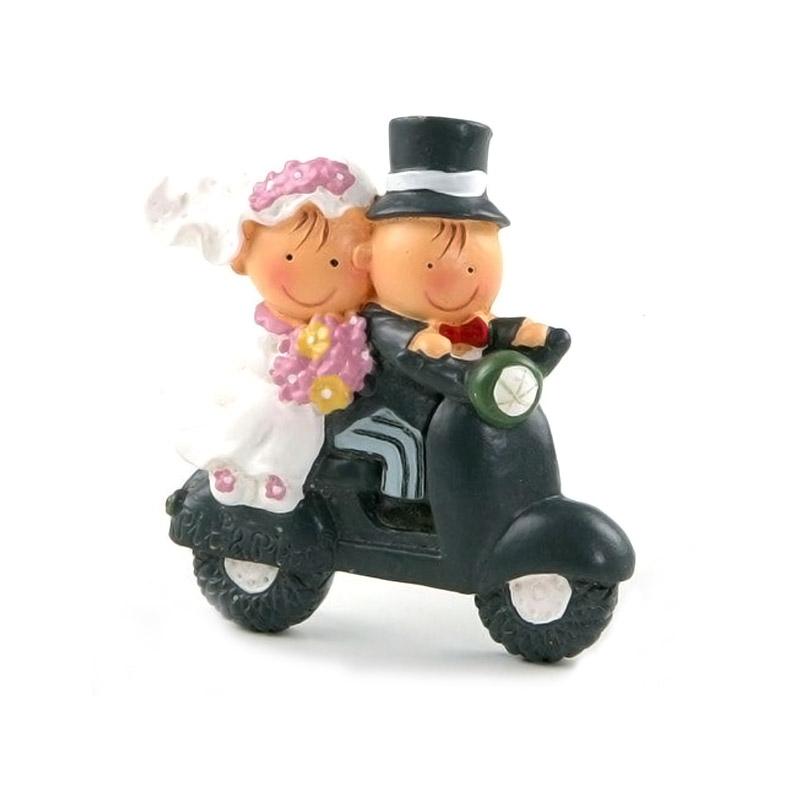 Imán para boda, novios en moto