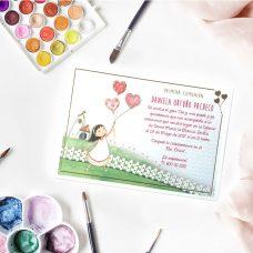 Invitación de comunión globos para niña 413.724