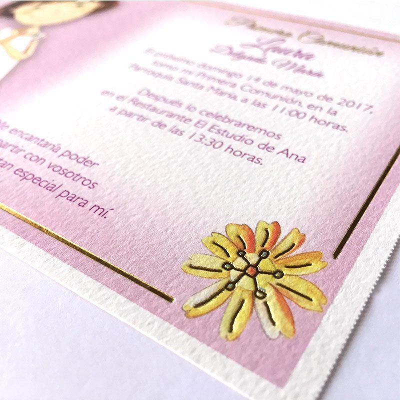 Invitación de comunión modelo flor
