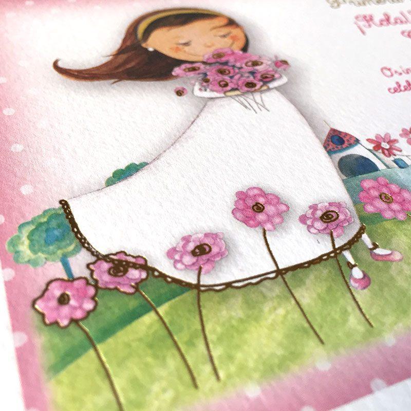 Invitación de comunión diseño flores