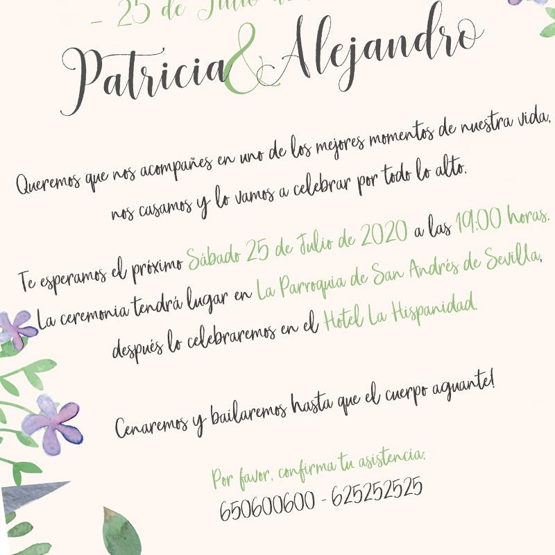 Invitación para boda. Modelo Abril. 15x21cm. Sobre incluído.