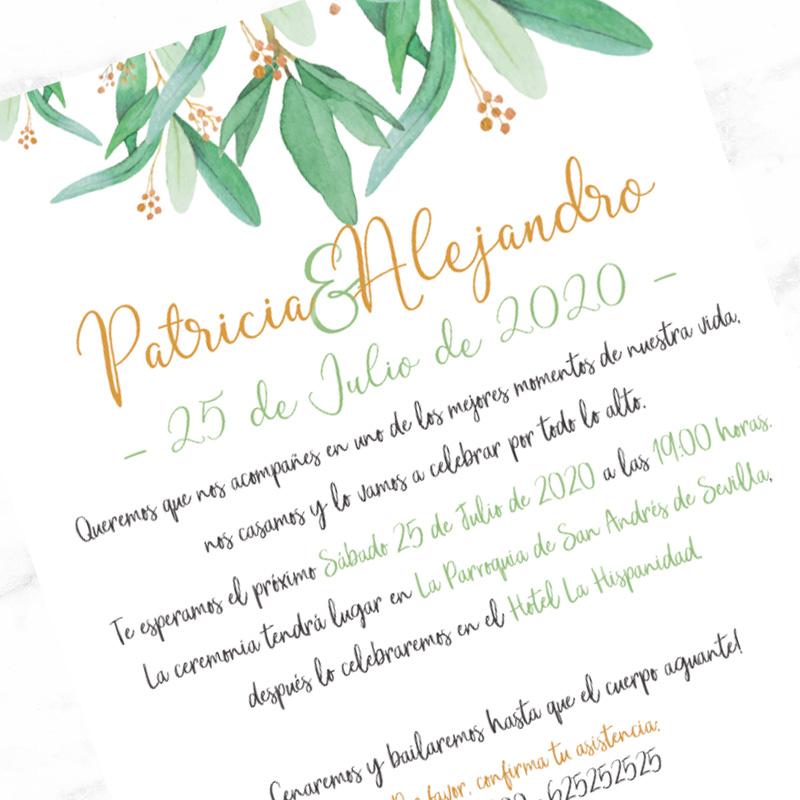 Invitación para boda. Modelo Green. 15x21cm. Sobre incluído.
