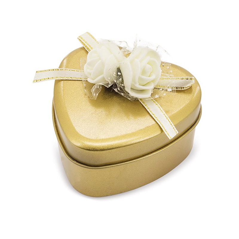 Estuche de rosas perfumadas. Forma de corazón. 3 colores. jabon aromatizado en latita corazon dorado