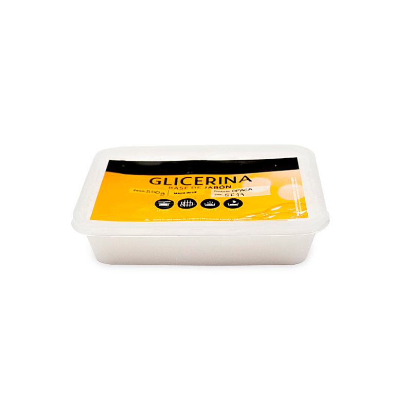 Jabón base de glicerina, blanco. Disponible en 500gr y 1kl.