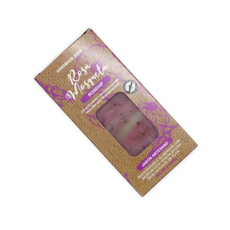 Pastilla de jabón artesano. Presentado en caja. Rosa mosqueta. 100gr.