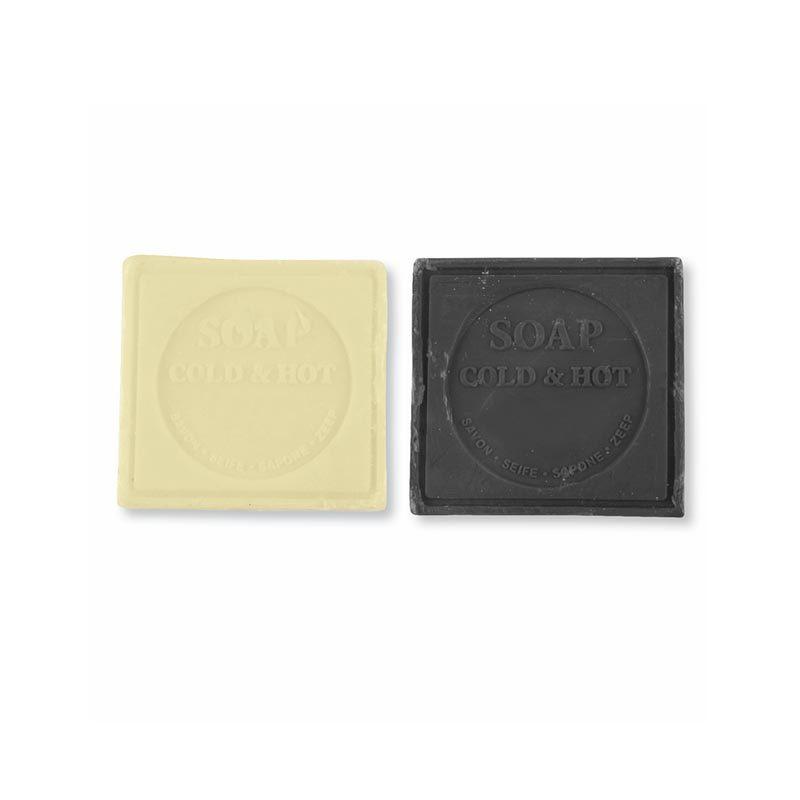 Jabón natural presentado en cajita kraft. 60gr. 6x5,5cm. 2 colores