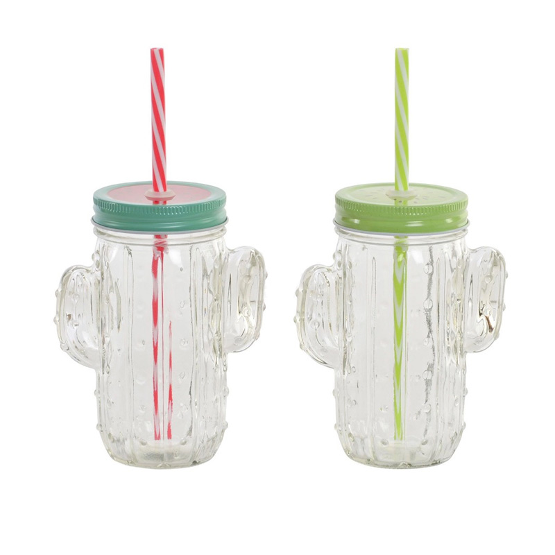 Nueva jarra de cristal. Cactus. 2 modelos. Incluye pajita. 350ml