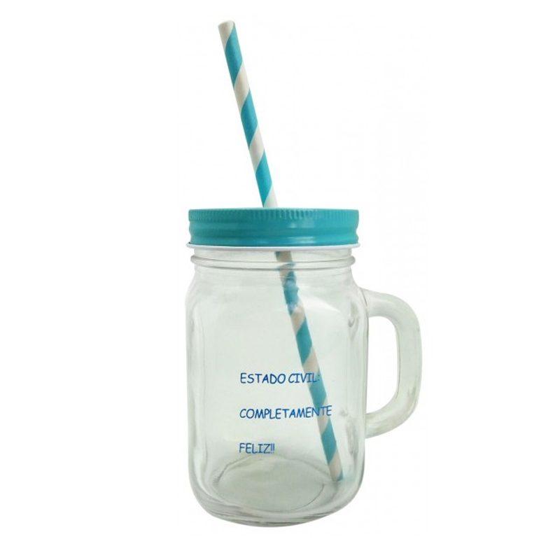 Jarra de cristal, con tapadera, pajita y frase divertida. Color azul.
