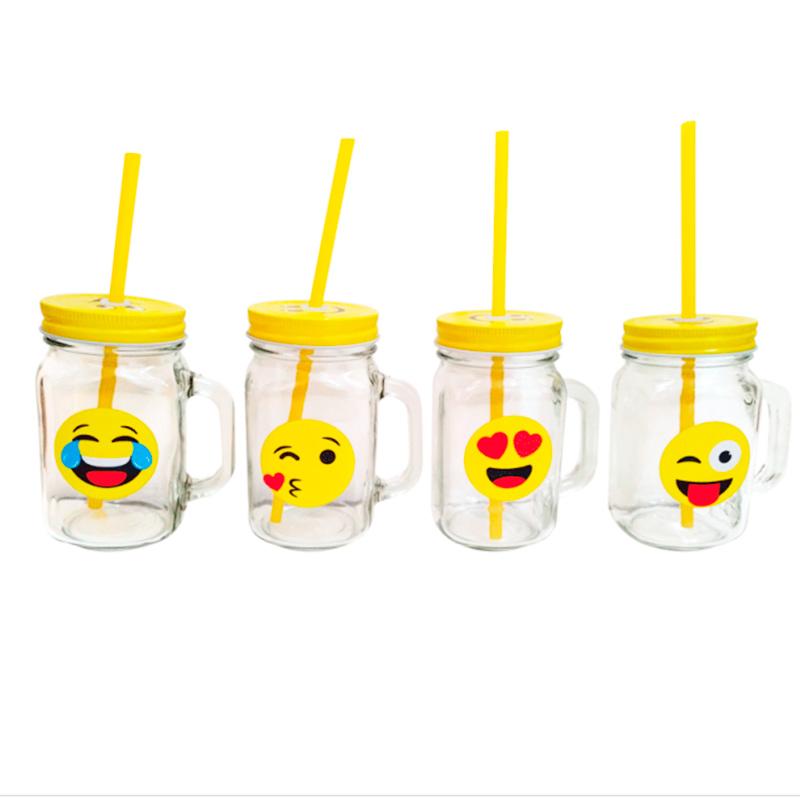 Jarra de cristal con tapadera y pajita. Emoji. 4 modelos. jarra de cristal con tapadera y pajita emoji 4 modelos