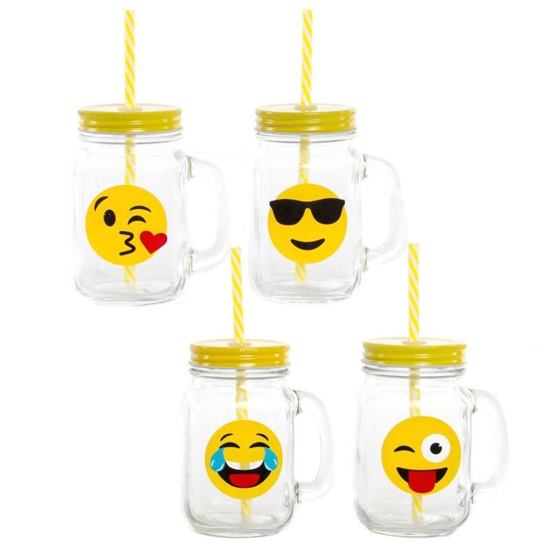 Jarra de cristal con tapadera y pajita. Emoji. 4 modelos.