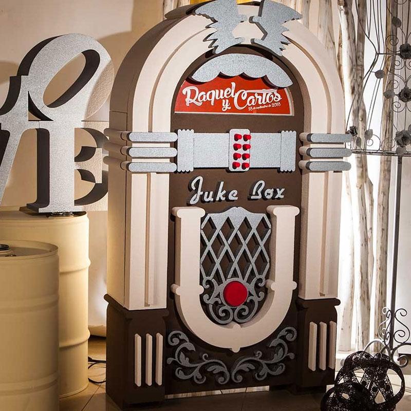 Jukebox-Tocadiscos vintage personalizable para boda.