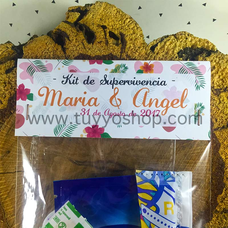 Kit de supervivencia para bodas modelo Hawai