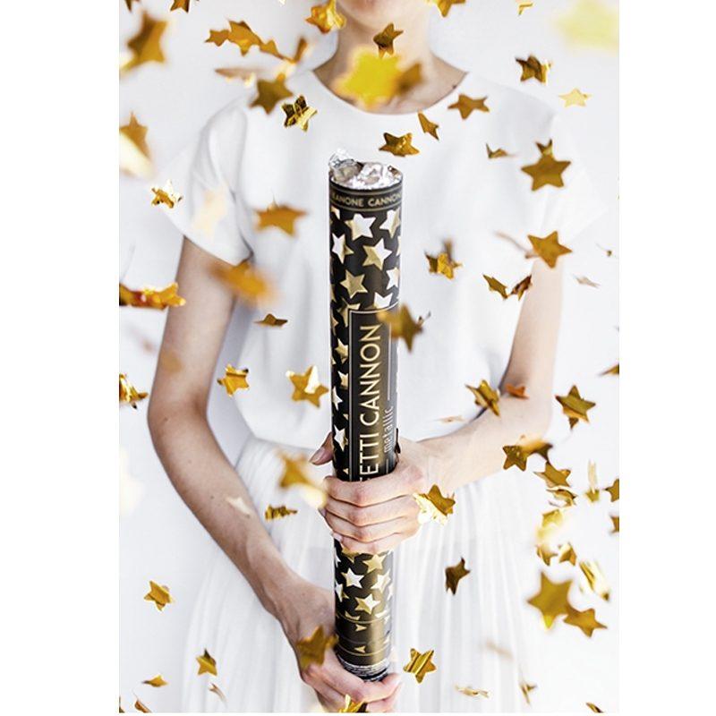 Lanzador de confeti en forma de estrella. Metalizado dorado. 60cm