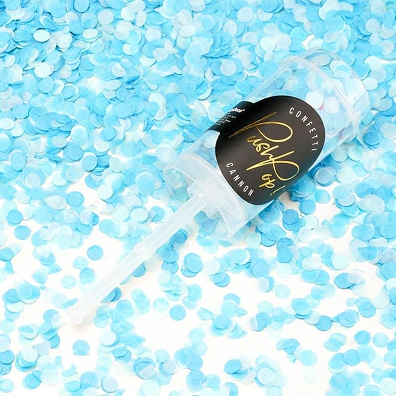 Lanzador de confetti manual. Azul. 4,8x18cm