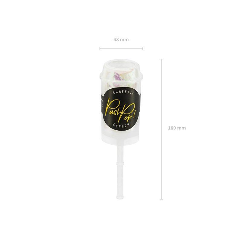 Lanzador de confetti manual. Iridiscente. 4,8x18cm