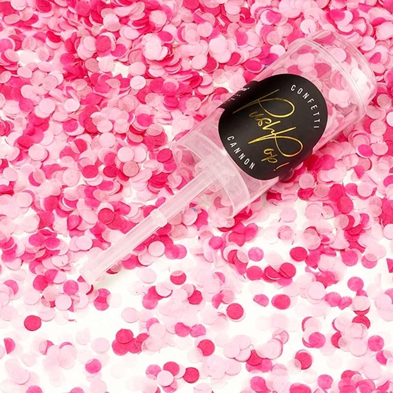 Lanzador de confetti manual. Rosa. 4,8x18cm