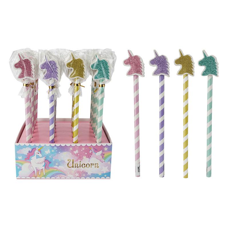 Caja de 24 lápices de unicornio con borrador. Purpurina. Variados.