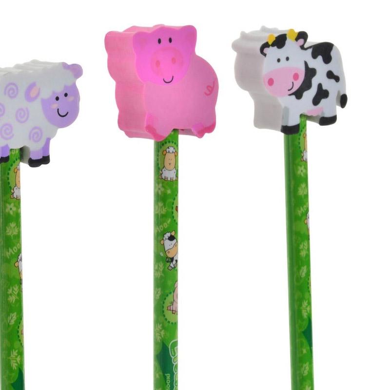 Bonito lápiz con goma, colección granja. 4 modelos