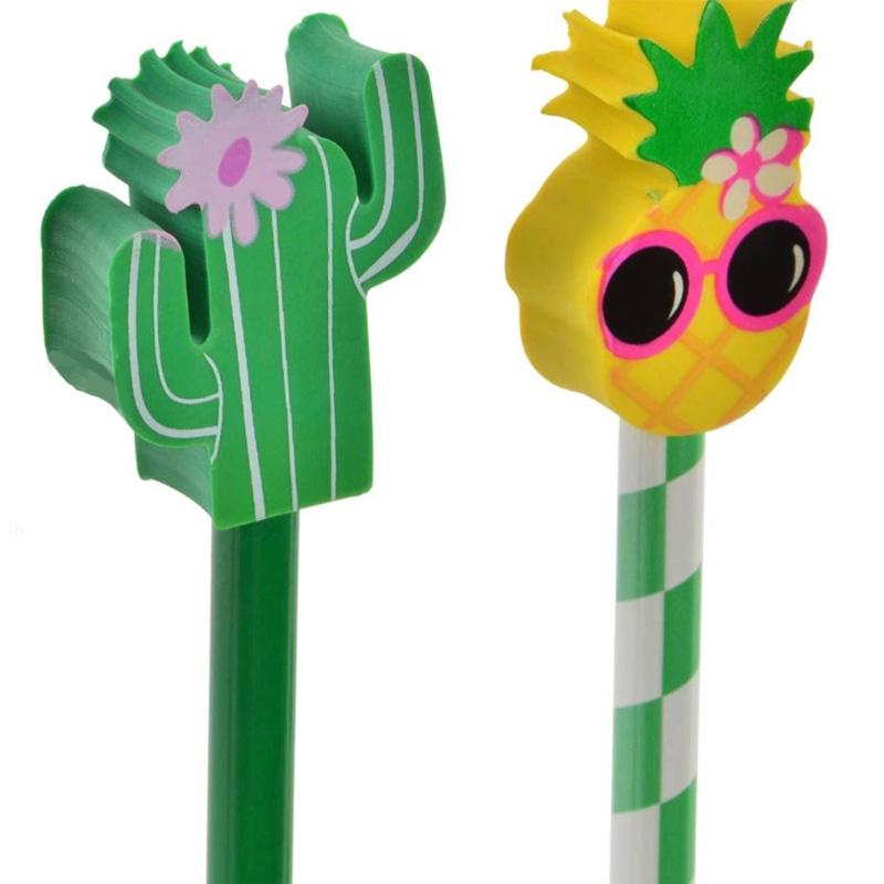 Bonito lápiz con goma, modelo tropical. 4 modelos