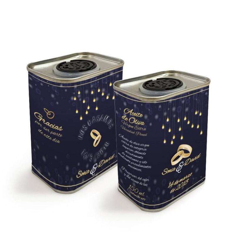 Latita personalizada de aceite de oliva para boda. Modelo Rings. 150ml