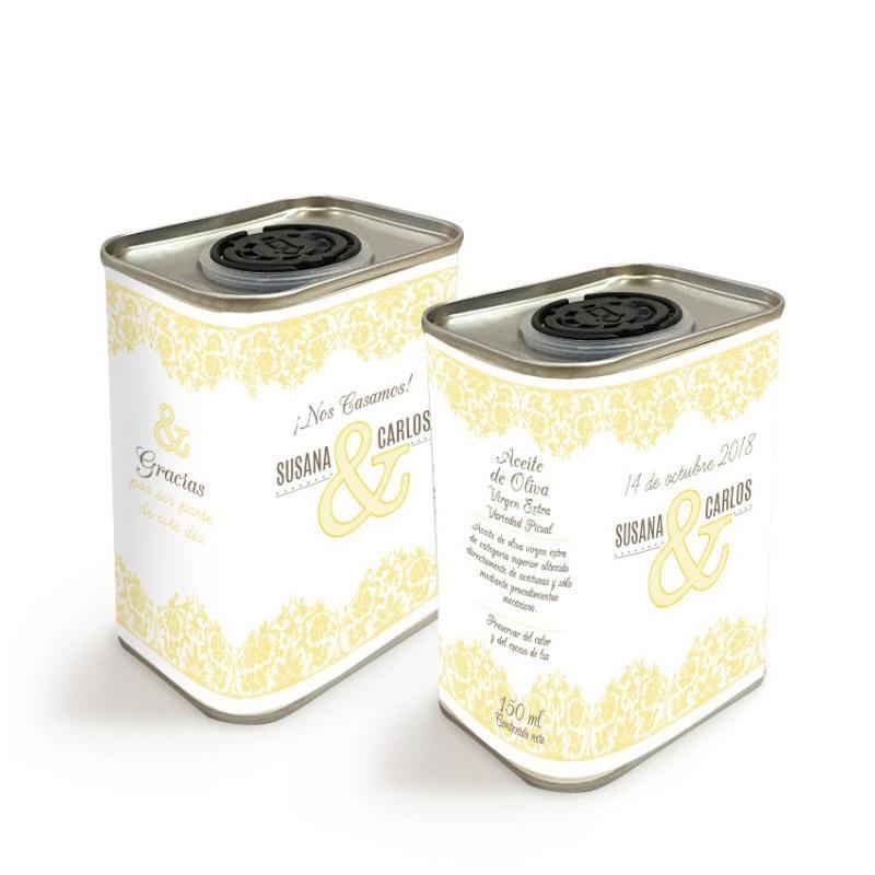 Latita personalizada de aceite de oliva para boda. Modelo Vintage. 150ml