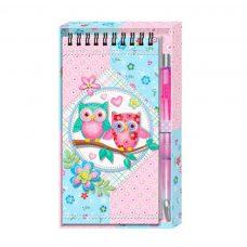 Libreta y bolígrafo búhos en caja regalo