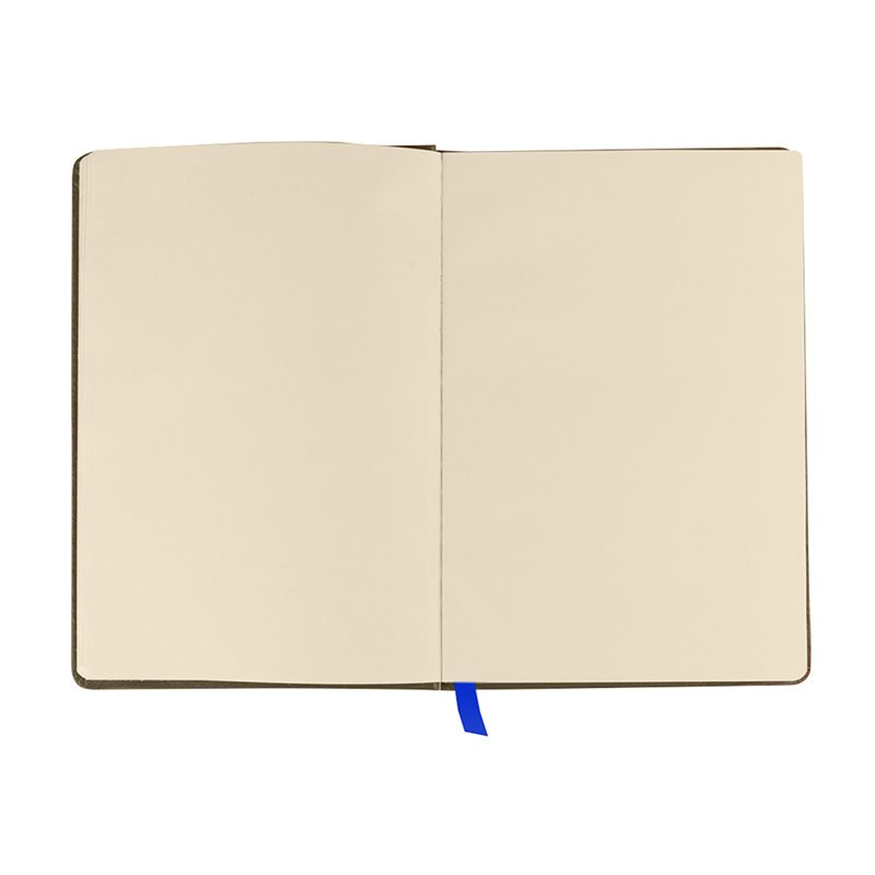 Libreta kraft para bodas. 100 hojas papel reciclado. A7. Marcapáginas tela. Cierre goma.